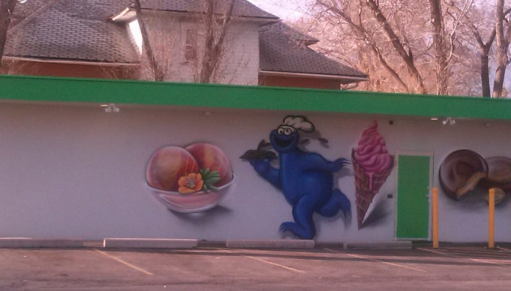 "Cookie Monster from Sesame Street appeared on the Wellstone ""pharmacy"" in Colorado Springs, in February. With objections raised, perhaps from the tv show, the mural was removed."